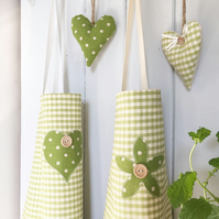 APRON - pink or green gingham