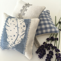LAVENDER SACHET BUNDLE - soft blue gingham and feather