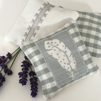 LAVENDER SACHET BUNDLE - feather and sage green gingham