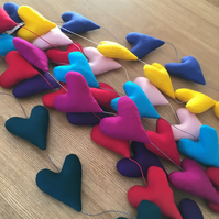 HANGING HEARTS DECORATION - assorted colours merino wool felt