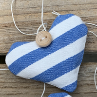 LAVENDER HEART - blue and white stripes