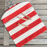 PEG BAG - red and white stripes