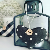 LAVENDER HEART - charcoal black and white polka dots