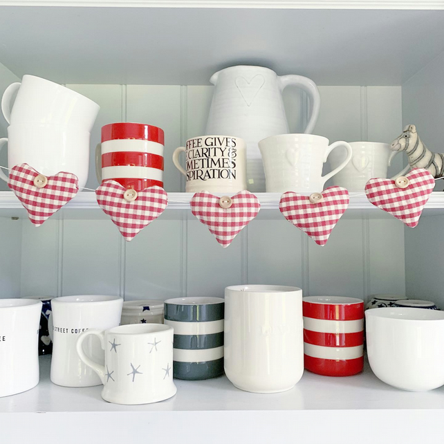 HEARTS BUNTING - red and white gingham with lavender