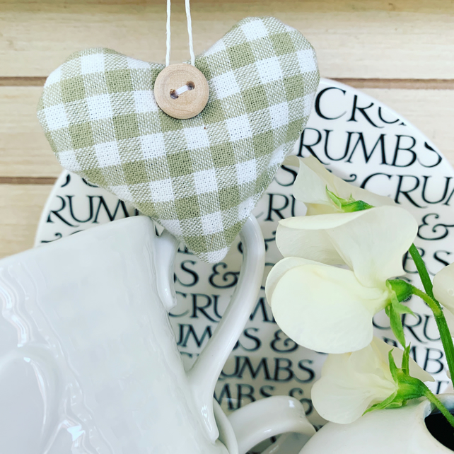 LAVENDER HEART - sage green and white gingham (short heart shape)