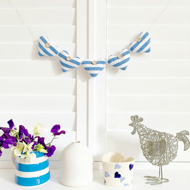 HEARTS BUNTING - blue and white stripes with lavender