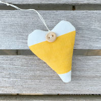 LAVENDER HEART - yellow and white stripes (long heart shape)