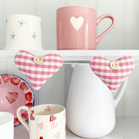HEARTS BUNTING - pink and white gingham with lavender
