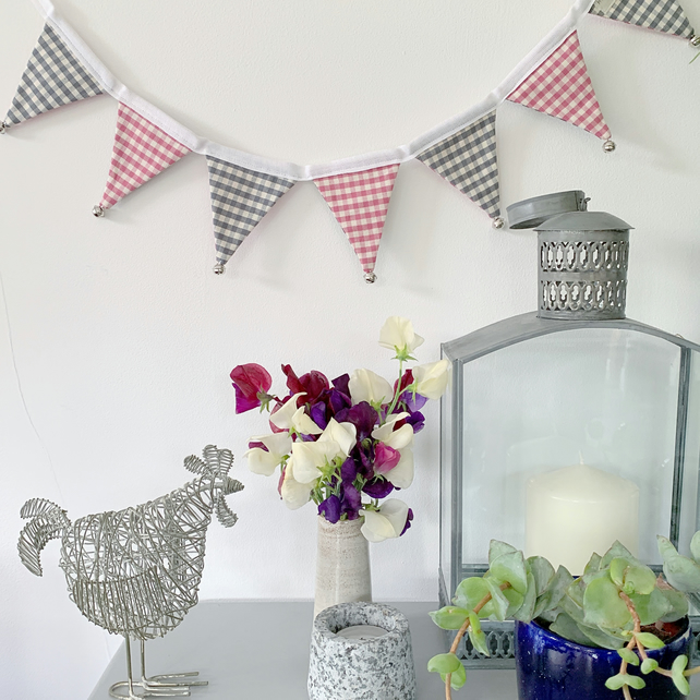 BUNTING -  mini pink and grey gingham with silver bells