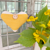 LAVENDER HEART - yellow and white stripes (short heart shape)