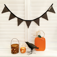 HALLOWEEN BUNTING - black polka dot, with orange bells optional