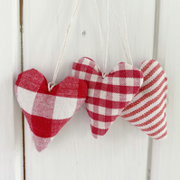 LAVENDER HEARTS - set of 3, red stripes, checks and gingham