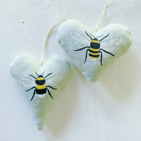 BEE HEART - sage green gingham and lavender
