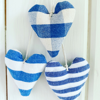 LAVENDER HEARTS - set of 3, blue stripes and checks
