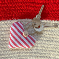HEART KEY RING - lavender, red and white stripes