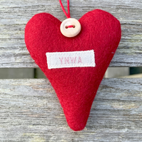 YNWA HEART - red wool felt, lavender