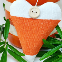 LAVENDER HEART - orange and white stripes