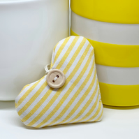 LAVENDER HEART -  narrow yellow and white stripes