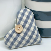 LAVENDER HEART  - grey and white gingham