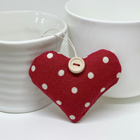 LAVENDER HEART - cranberry red dotty