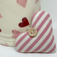 LAVENDER HEART - pink and white stripes