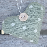 LAVENDER HEART - sage green dotty