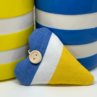LAVENDER HEART - blue, white and yellow stripes
