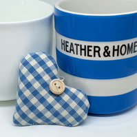 LAVENDER HEART - blue and white gingham