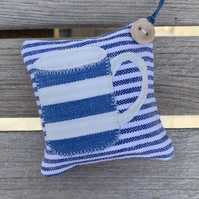 STRIPEY MUG LAVENDER BAG - blue and white stripes