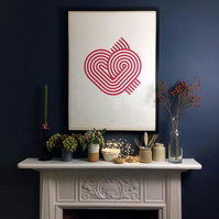 Salty's Studio Stripy Heart Screen Print