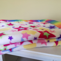 Rainbow stars fleece baby blanket