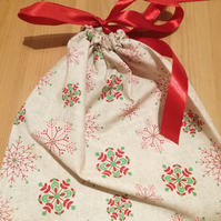 Medium reusable cotton Christmas gift bag