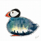Greeting Card - Blank - Puffin with Northern Lights
