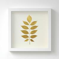 Golden Ash Leaf Painting – Acrylic Painting – Fits IKEA Frames – Unframed