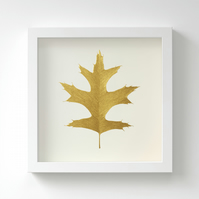 Golden Pin Oak Leaf Painting – Acrylic Painting – Fits IKEA Frames – Unframed