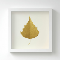 Golden Birch Leaf Painting – Acrylic Painting – Fits IKEA Frames – Unframed