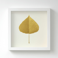 Golden Poplar Leaf Painting – Acrylic Painting – Fits IKEA Frames – Unframed