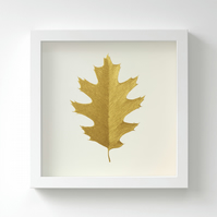 Golden Red Oak Leaf Painting – Acrylic Painting – Fits IKEA Frames – Unframed
