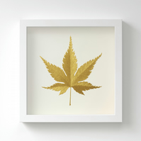 Golden Japanese Maple Leaf Painting – Acrylic Painting – Fits IKEA Frames