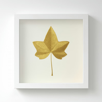 Golden English Ivy Leaf Painting – Acrylic Painting – Fits IKEA Frames