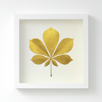 Golden Horse Chestnut Leaf Painting – Acrylic Painting – Fits IKEA Frames