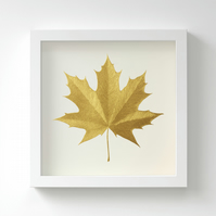 Golden Norway Maple Leaf Painting – Acrylic Painting – Fits IKEA Frames