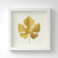 Golden Vine Leaf Painting – Acrylic Painting – Fits IKEA Frames – Unframed