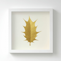 Golden Holly Leaf Painting – Acrylic Painting – Fits IKEA Frames – Unframed