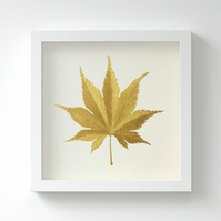 Golden Japanese Acer Leaf Painting – Acrylic Painting – Fits IKEA Frames