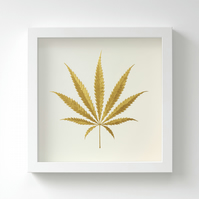 Golden Cannabis Leaf Painting – Acrylic Painting – Fits IKEA Frames – Unframed