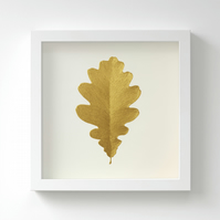 Golden Oak Leaf Painting – Acrylic Painting – Fits IKEA Frames – Unframed