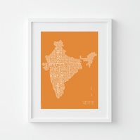 India Text Map in Hindi – Typographic Map Print – Fits IKEA Frames – Unframed