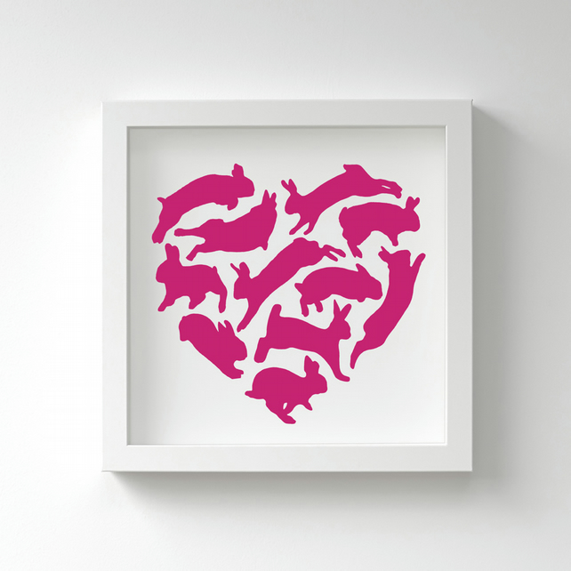Cute Heart Shaped Rabbits Print – Many Lovely Colours – Fits IKEA Frames