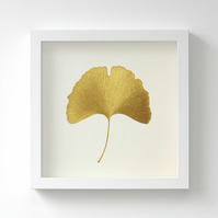 Golden Ginkgo Leaf Painting – Acrylic Painting – Fits IKEA Frames – Unframed